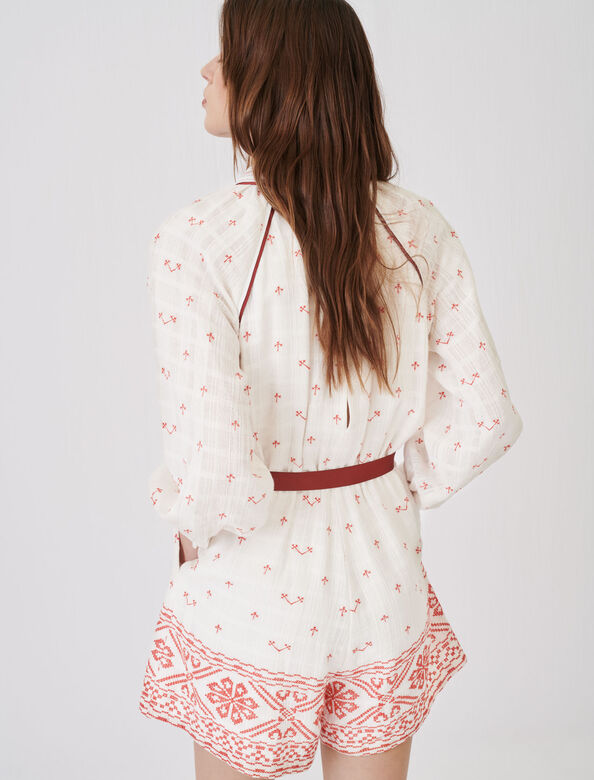 Embroidered, belted playsuit : Jumpshort & Jumpsuits color Red