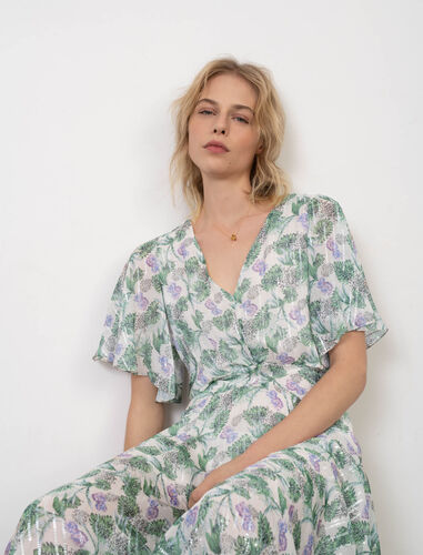 Printed muslin scarf dress : Dresses color White/Green/Purple