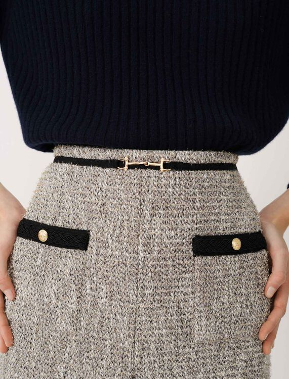 Recycled cotton tweed-style skirt : Skirts color Silver
