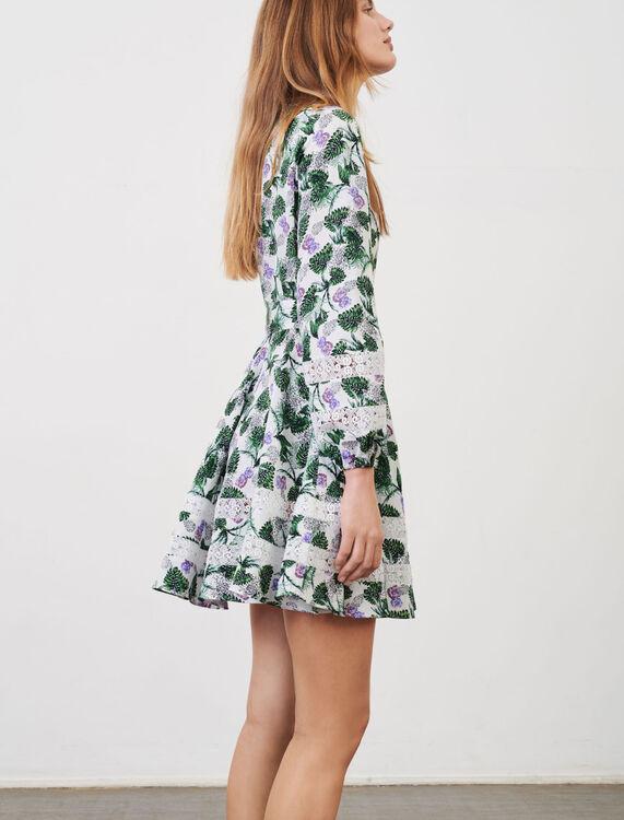 Printed viscose linen dress - Dresses - MAJE