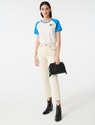 Straight leg jeans with topstitching : Jeans color Ecru