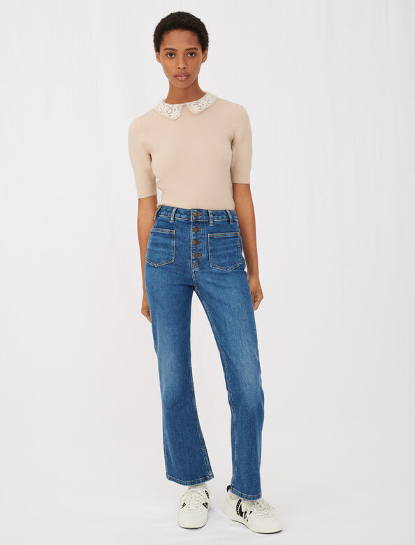 Guipere collar sweater : Sweaters color Beige