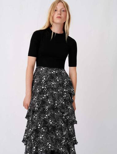 Trompe l'œil dress with scarf skirt : Dresses color Stars black white