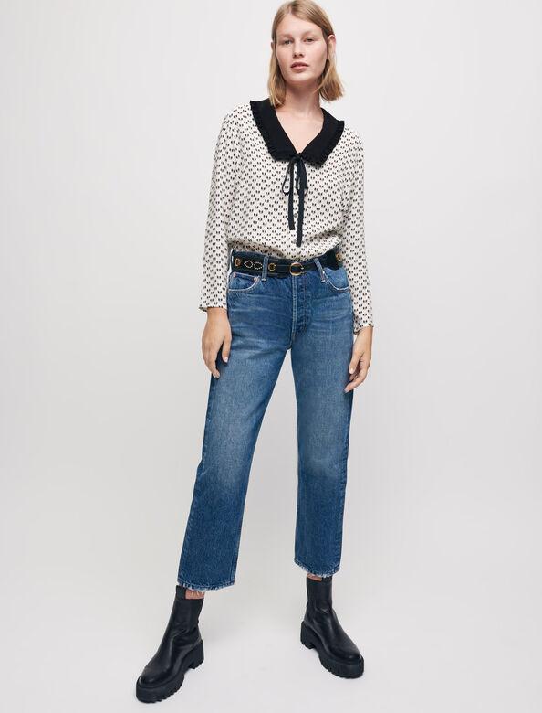Crêpe bow print shirt : Shirts color Ecru Knots