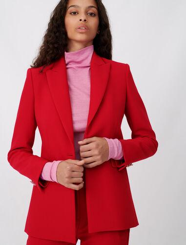 单粒纽扣西装外套 : 休闲西装 顏色 红色/RED