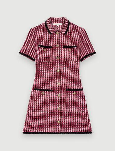 Contrast tweed dress : Dresses color Fuchsia