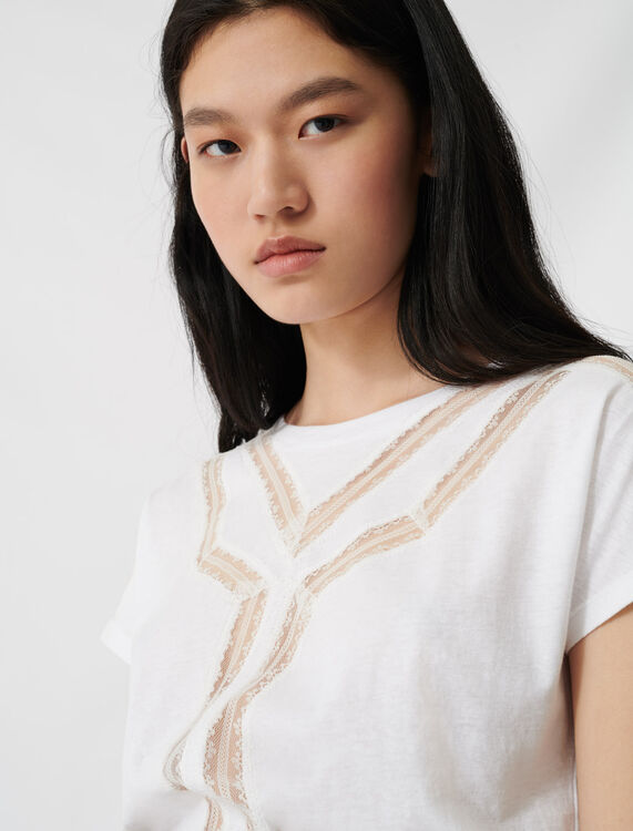 T-shirt with inlaid lace details : T-Shirts color Ecru