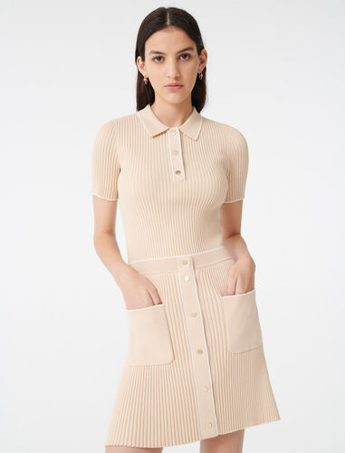 Close-fitting knit skirt : Skirts color Beige