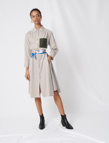 Striped shirt dress, contrasting belt : Dresses color Ecru Khaki