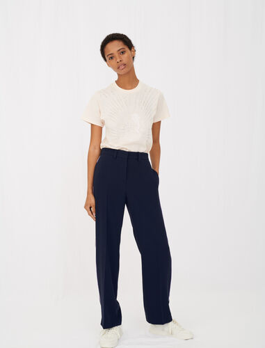 Crêpe suit trousers : Trousers color Navy