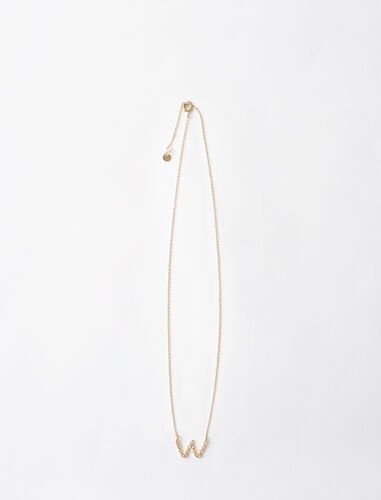 Rhinestone W necklace : Jewelry color Gold