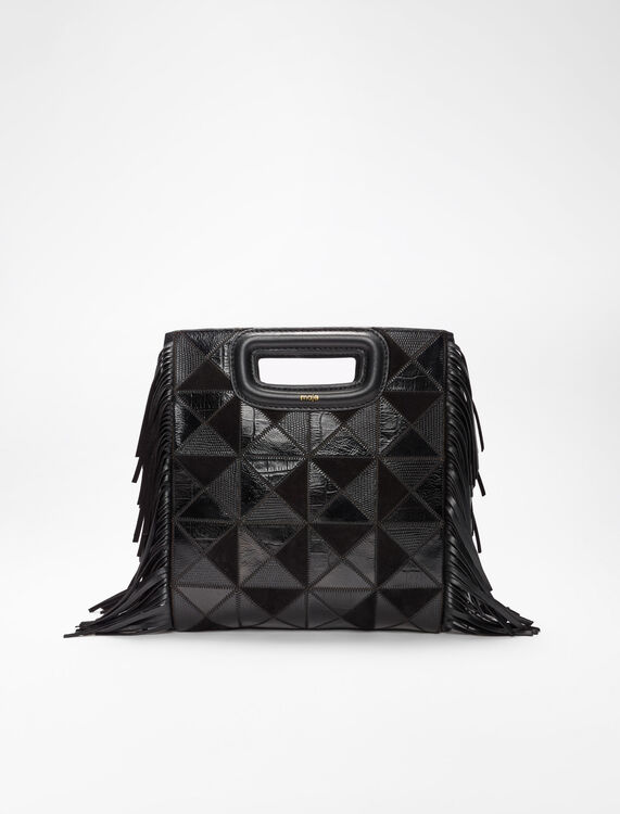 Leather and suede patchwork Mbag -  - MAJE