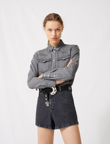 Trompe-l'œil-effect playsuit in denim : Jumpshort & Jumpsuits color Black