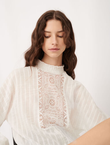 Cotton, lurex and lace top : Tops color Ecru
