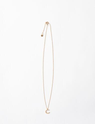 字母c水钻装饰项链 : 首饰 顏色 金色/GOLD