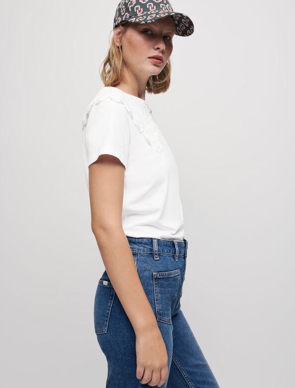 Jersey T-shirt with large collar : T-Shirts color Ecru
