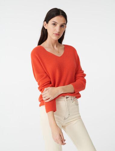 Cashmere sweater : Sweaters color Orange