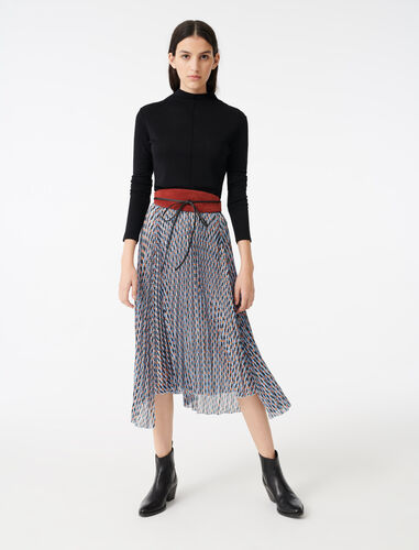 Lurex jacquard print skirt : Skirts color Blue