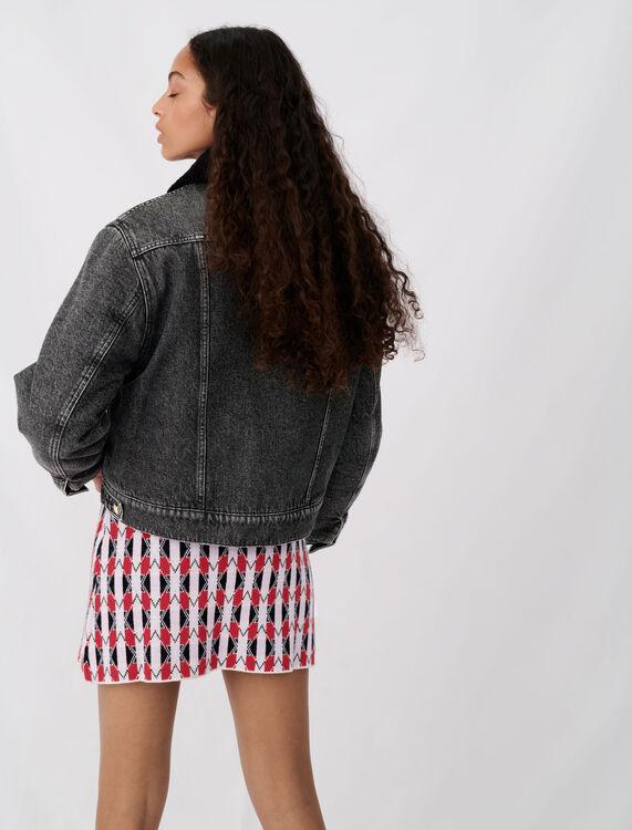 Denim and fur-effect jacket : Coats & Jackets color Anthracite