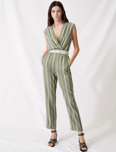 Striped jumpsuit : Jumpshort & Jumpsuits color Khaki