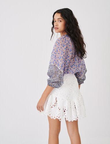 纯色镂空花边短裙 : 半身裙及短裤 顏色 淡褐色/ECRU