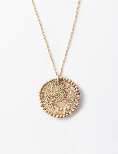 Cancer zodiac sign necklace : Jewelry color Old Brass