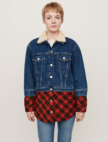 Plaid trompe-l'oeil jean jacket : Coats & Jackets color Blue