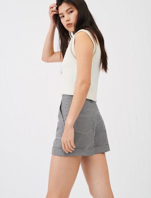 Oshkosh stripe shorts with topstitching : null color Navy / Ecru