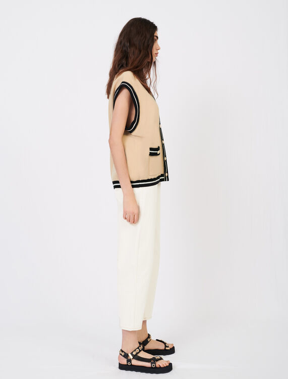 Sleeveless cardigan with contrast bands - Cardigans - MAJE