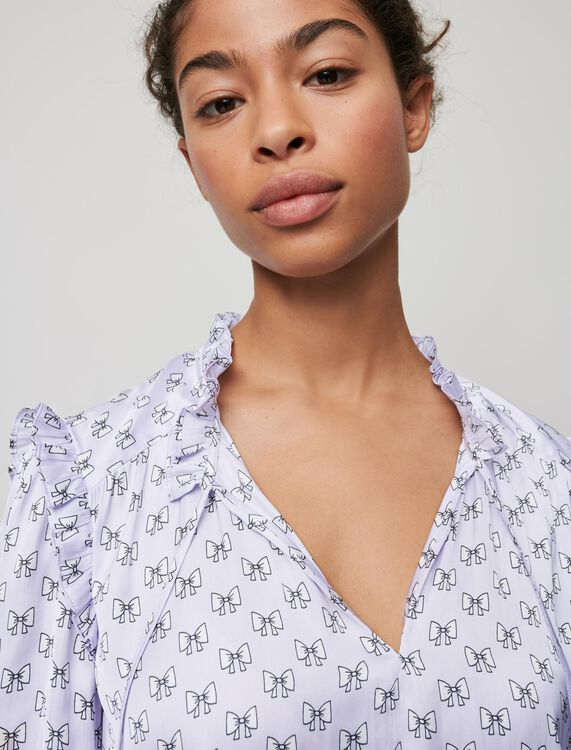 Flowing top with bow print - Tops - MAJE