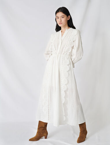 Cotton dress with broderie anglaise : Dresses color White