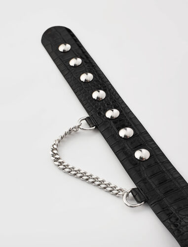 Snap button leather belt and chain : Belts color Black
