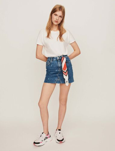 Faded straight-cut jean skirt : Skirts color Blue