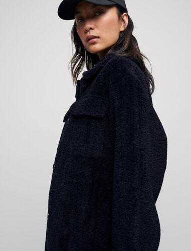 Long fur-effect overshirt : Coats & Jackets color Ecru