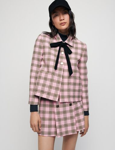 Checked jacket with contrasting necktie : Blazers color Pink