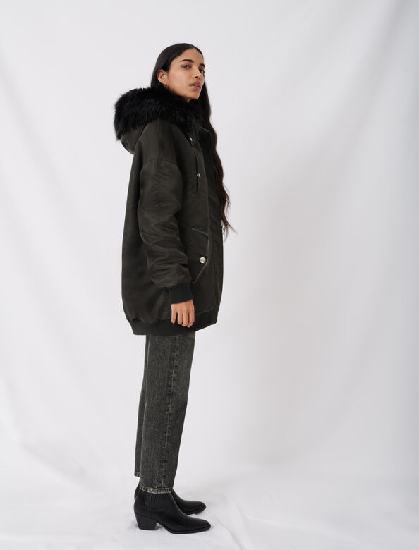Hooded bomber-style parka : Coats & Jackets color Black