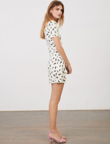 Printed jacquard dress : Dresses color White/Black