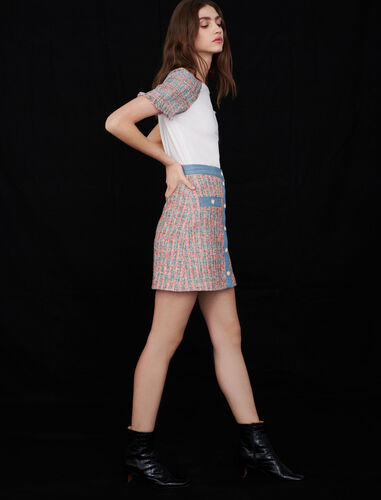 Tweed skirt with denim contrasts : Skirts color Red/Blue