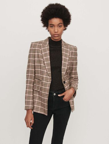 Fitted plaid jacket : Blazers color Beige
