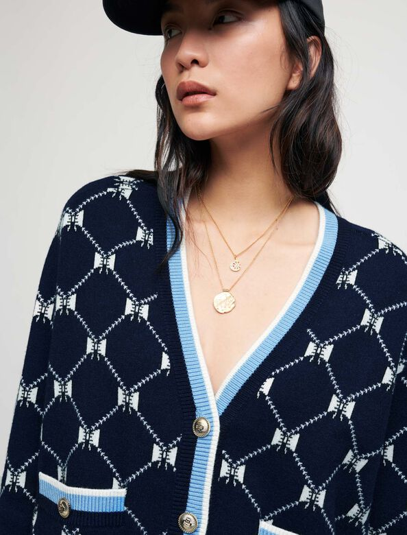 Jacquard cardigan with contrasting bows : Sweaters & Cardigans color Navy