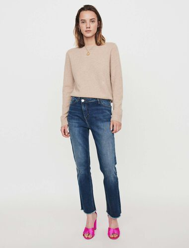 Patched jeans with offset belt : Jeans color Blue
