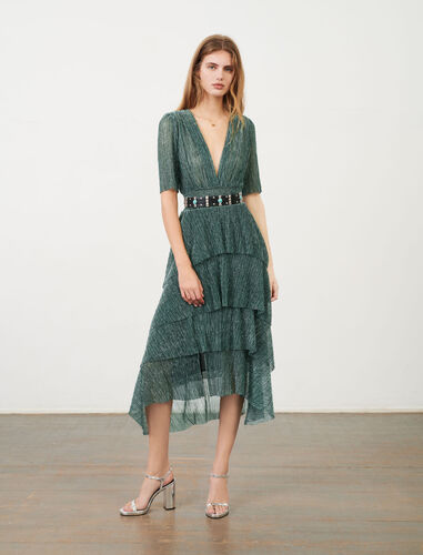 Stretch lurex fabric dress with ruffles : Dresses color Green