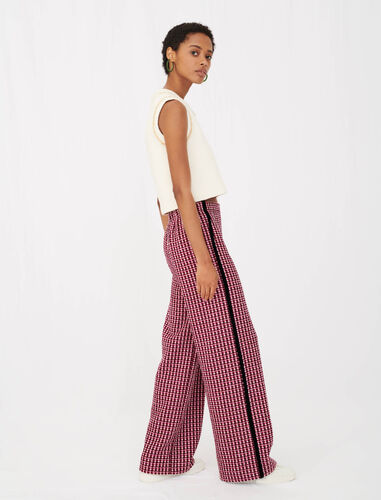 Wide trousers in contrast tweed : View All color Fuchsia
