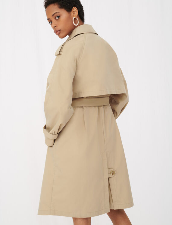 Belted trench coat with leather patches - Coats & Jackets - MAJE