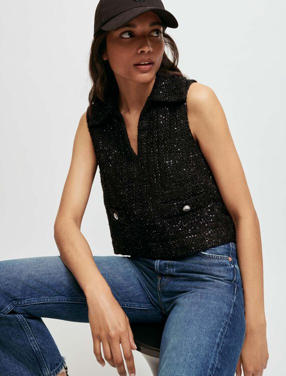 Sequinned tweed-style sleeveless top - Tops - MAJE