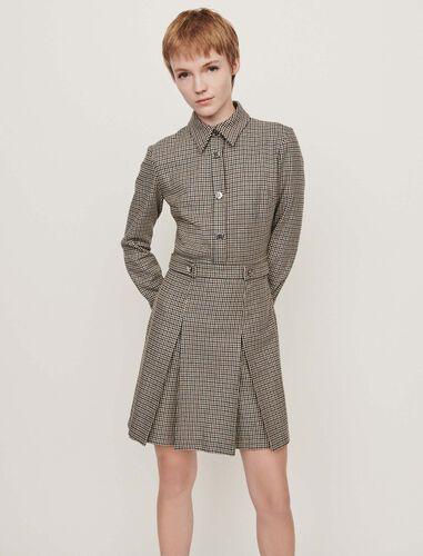 Plaid jacket-style coat : Dresses color Grey