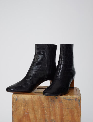 Croc-effect embossed leather boots : Boots & Flat shoes color Black