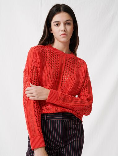Crochet-style jumper : Sweaters color Red