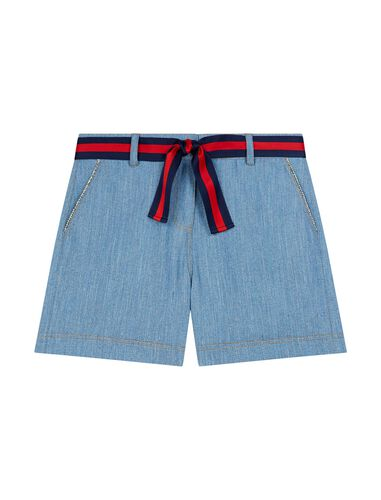 Denim shorts with contrasting belt : Shorts color Red/Blue