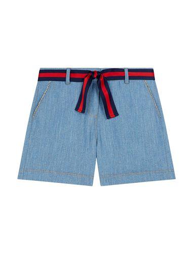 撞色腰带牛仔短裤 : 短裤 顏色 C006